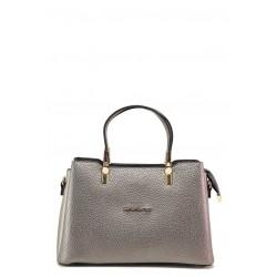 Стилна дамска чанта с красиви декоративни елементи / МИ 448 сив графит / MES.BG