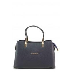 Компактна дамска чанта, дълга дръжка, практични джобове / МИ 448 т.син / MES.BG