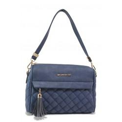 Капитонирана дамска чанта с два външни джоба, акцент-пискюл / МИ 450 т.син / MES.BG