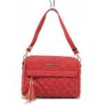 Ежедневна дамска чанта с практични два външни джоба / МИ 450 червен / MES.BG