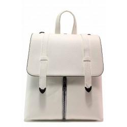 Ежедневна дамска чанта-раница, тик-так закопчаване, практични джобове / МИ 201 бял / MES.BG