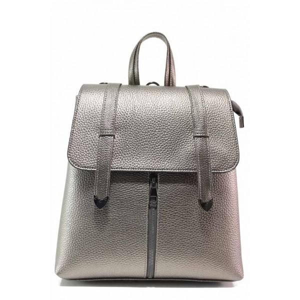 Практична дамска чанта-раница с декоративен цип, тик-так закопчаване / МИ 201 графит / MES.BG