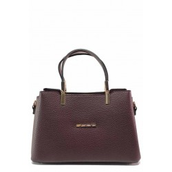 Малка дамска чанта за стилни дами, удобно закопчаване, практични джобове / МИ 448 бордо / MES.BG