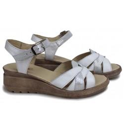 Български сандали на платформа, дамски, естествена кожа, акцент - сатен / НЛМ 202-19422 бял-сатен / MES.BG