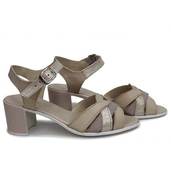 Стилни дамски сандали, естествена кожа, анатомични, български / НЛМ 202-527 сахара-кум / MES.BG