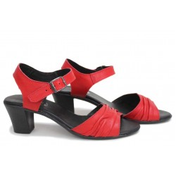 Анатомични български сандали, дамски, естествена кожа, набран ефект / НЛМ 239-1705 червен / MES.BG