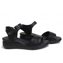 Ежедневни сандали от естествена кожа, дамски, български, анатомични / НЛМ 239-19422 черен / MES.BG