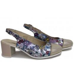 Анатомични дамски сандали, естествена кожа с цветен мотив, български / НЛМ 267-527 цветя-сатен / MES.BG