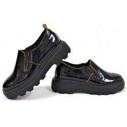 Дамски лачени обувки, естествена кожа, ластик, анатомични / НЛМ 280-Астра черен-жълт / MES.BG
