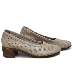Български обувки от естествена кожа, дамски, анатомични, перфорация / НЛМ 286-7251 сахара / MES.BG