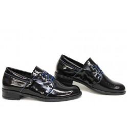 Класически дамски обувки, естествена кожа, анатомични, български / НЛМ 292-Аризона черен-син / MES.BG
