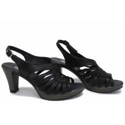 Анатомични черни сандали, български, естествена кожа, висок ток / НЛМ 30-6843 / MES.BG