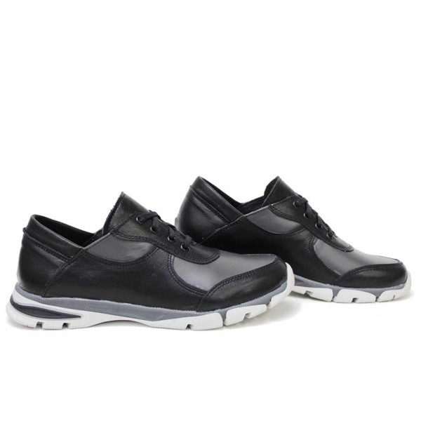 Анатомични български обувки от естествена кожа НЛМ 322-Крос черен-сив   Равни дамски обувки   MES.BG