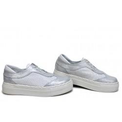 Спортни дамски обувки, български, естествена кожа, анатомични / НЛМ 325-192 бял / MES.BG