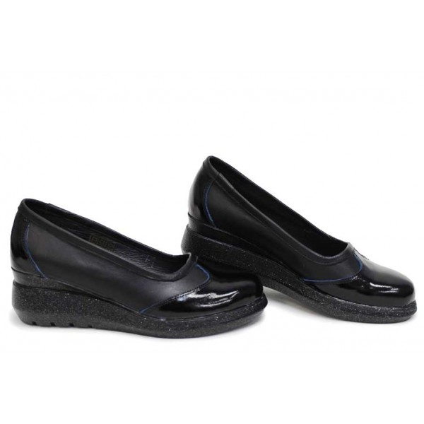 Анатомични дамски обувки, естествена кожа и лак, български, платформа / НЛМ 326-19422 черен-син / MES.BG