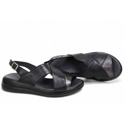 Черни сандали, естествена кожа, анатомични, платформа, български / НЛМ 328-2464 черен-бакър / MES.BG