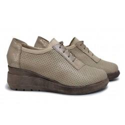 Български дамски обувки, естествена кожа с перфорация, анатомични / НЛМ 341-19422 бежов / MES.BG