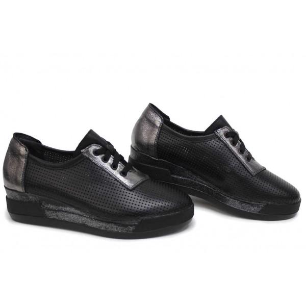 Анатомични дамски обувки, български, естествена кожа, перфорация / НЛМ 341-8218 черен-сребро / MES.BG