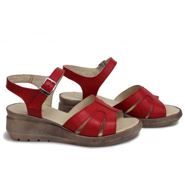 Класически дамски сандали, естествена кожа, български, атрактивни / НЛМ 346-19422 червен / MES.BG