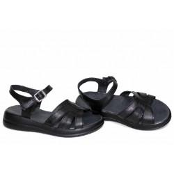 Черни дамски сандали, анатомични, български, естествена кожа / НЛМ 346-2464 / MES.BG