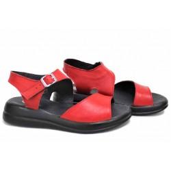 Червени дамски сандали, комфортни, естествена кожа, български, анатомични / НЛМ 347-2464 / MES.BG