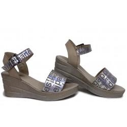 Модерни дамски сандали, български, естествена сатен кожа, анатомични / НЛМ 348-96145 сахара-букви / MES.BG