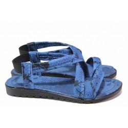 Текстилни сандали, дамски, леки, ластик / ТЯ 123 син-черен / MES.BG