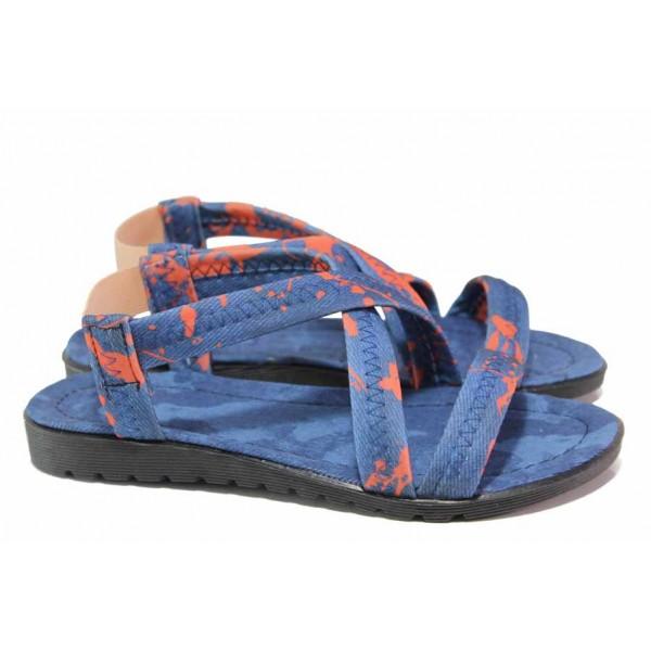 Атрактивни дамски сандали, текстилни, олекотени, ластик / ТЯ 129 син-оранж / MES.BG