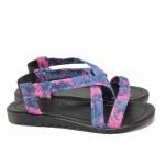 Дамски сандали от текстил, олекотени, ластик / ТЯ 126 син-розов / MES.BG