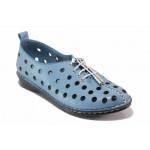 Летни анатомични дамски обувки, естествена кожа, шито ходило / МИ 777 син / MES.BG