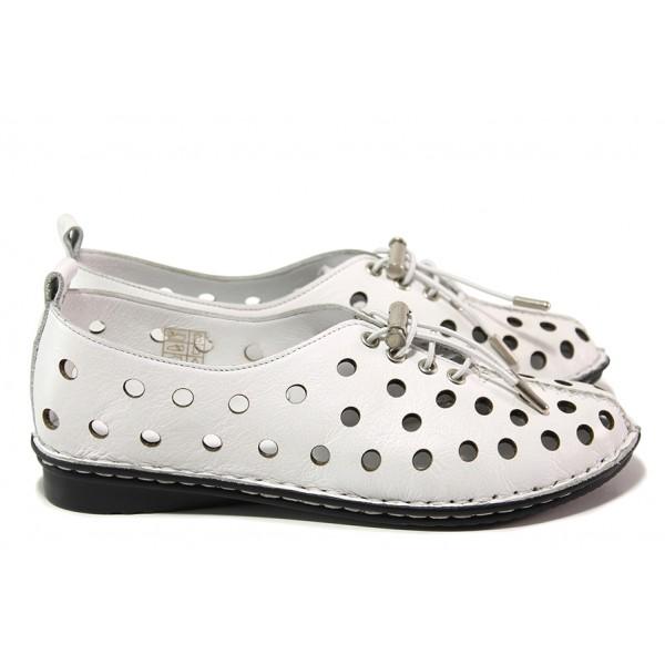 Летни анатомични обувки от естествена кожа, ластични връзки / МИ 777 бял / MES.BG