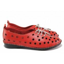 Летни обувки с ластични връзки, анатомични, гъвково шито ходило / МИ 777 червен / MES.BG