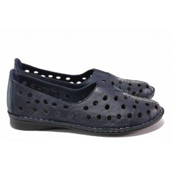 Летни дамски обувки на дупки, естествена кожа, шито еластично ходило / МИ 790 т.син / MES.BG