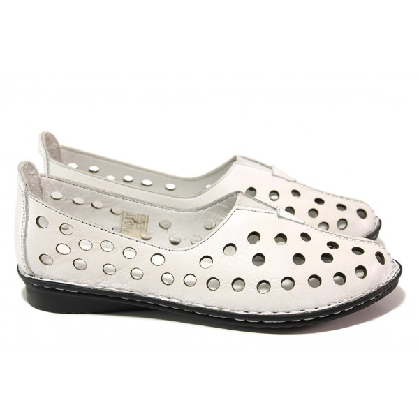 Летни дамски обувки от естествена кожа, ластик, анатомични / МИ 790 бял / MES.BG