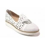Анатомични дамски обувки, естествена кожа, красива перфорация / МИ 321 бял / MES.BG
