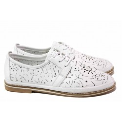 Анатомични дамски обувки, естествена кожа, перфорация, леко и еластично шито ходило / МИ 322 бял / MES.BG
