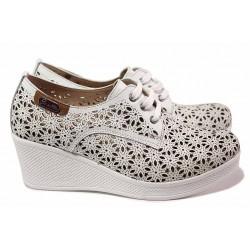 Анатомични дамски обувки, естествена кожа, красива перфорация, платформа / МИ 131 бял / MES.BG