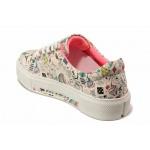 Юношески спортни обувки, шито ходило, интересен принт, връзки / ТЯ 954 бял-розов / MES.BG