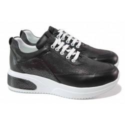 Анатомични спортни обувки, естествена кожа, връзки, платформа / ТЯ 8003 черен / MES.BG