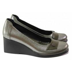 Анатомични дамски обувки, естествена кожа, олекотена платформа / МИ 0252 зелен сатен / MES.BG
