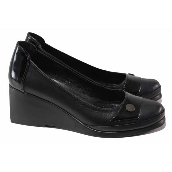 Олекотени дамски обувки на платформа, анатомични, естествена кожа с лак / МИ 0252 черен / MES.BG