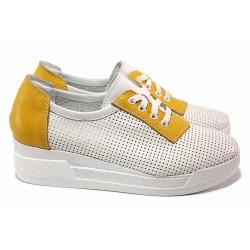 Анатомични български обувки с деликатна перфорация, естествена кожа / НЛ 341-8218 бял-жълт / MES.BG