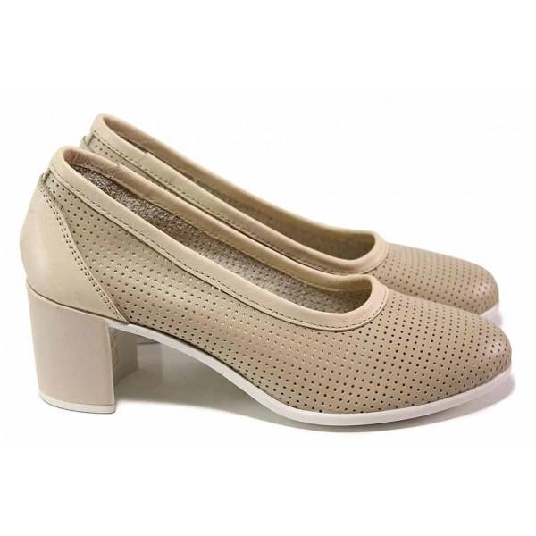 Анатомични дамски обувки, среден ток, перфорация, естествена кожа, български / НЛ 286-527 сахара / MES.BG