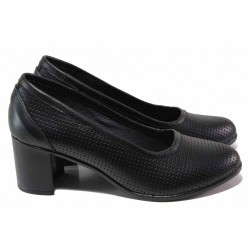 Анатомични дамски обувки с декортивна перфорация, естествена кожа, български / НЛ 286-527 черен / MES.BG