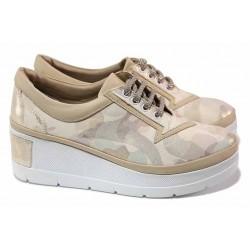 Анатомични дамски обувки, естествена кожа-сатен, удобна олекотена платформа / ТЯ 808-706 бежов-златен / MES.BG