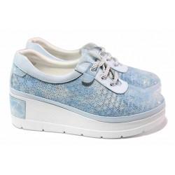 Анатомични дамски обувки в свеж летен цвят, удобна платформа, естествена кожа / ТЯ 465-172 св.син / MES.BG