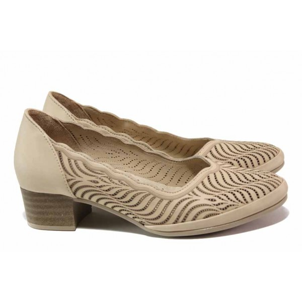 Анатомични дамски обувки, естествена кожа, среден ток, красива перфорация / МИ 477-03 бежов / MES.BG
