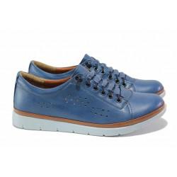 Дамски ортопедични обувки с ластични връзки, естествена кожа, гъвкаво ходило / МИ 031 св.син / MES.BG