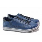 Дамски спортни обувки, естествена кожа, шито ходило / МИ 1105 син / MES.BG