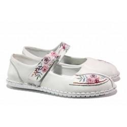 Равни дамски обувки, велкро закопчаване, естествена кожа, олекотени / МИ 755 бял / MES.BG
